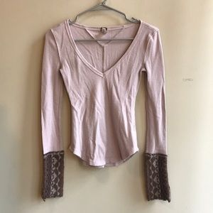 Free People Lavender Cuff Thermal Long Sleeve